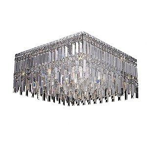 Plafon Cristal Translúcido e Aço Cromado 60 x 60 cm