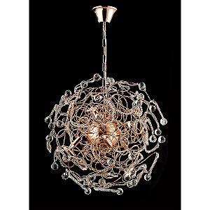 Pendente Medusa Cristal e Aço Ouro Rosé 60 cm