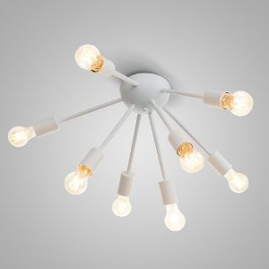 Luminária Plafon Sputinik 8 Hastes Branco Sala Estar Jantar