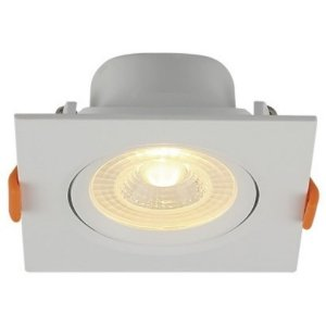 Spot LED Embutir 6W Bivolt Quadrado Direcionável Luz Amarela