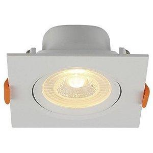 Spot LED Embutir 6W Bivolt Quadrado Direcionável Luz Branca