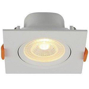 Spot LED Embutir Face Plana Direcionável Quadrado 9x9cm 6W Bivolt 6500K Branco Frio Blumenau