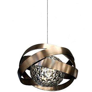 Pendente Metal Escovado LED 18W Sala de Jantar Estar
