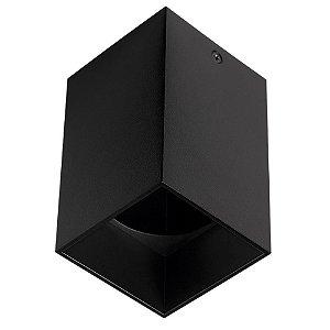 Spot Plafon Sobrepor Quadrado Metal Dicróica GU10 Preto Stella STH8992PTO