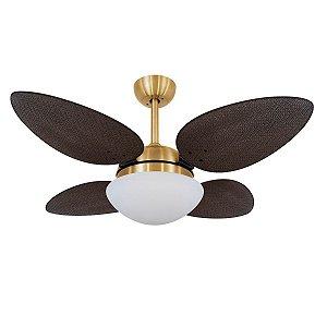 Ventilador de Teto Dourado e Pás Tabaco VD42 Petalo Palmae 127V Volare
