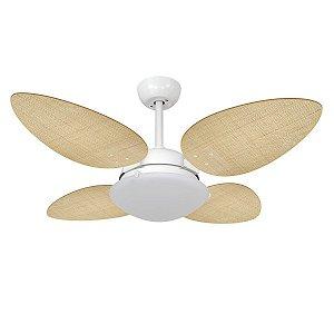 Ventilador de Teto Branco e Pás Palha Natural Petalo Palmae 127V Volare