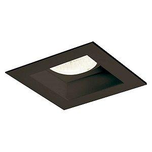 Spot Embutir Direcionável Recuado Dicroica PAR16 Alumínio Quadrado Preto