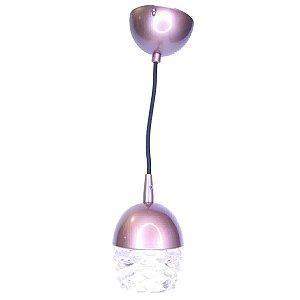 Luminária Pendente Para Cabeceira Quarto Lavabo Bronze Vidro