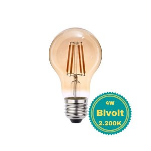 Lâmpada LED Filamento 4W Bivolt A60 Luz Amarela para Pendente