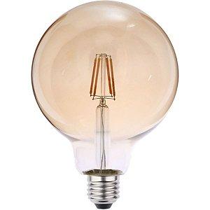 Lâmpada LED Filamento 4W Bivolt G95 Luz Amarela Retrô