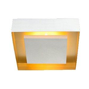 Plafon Luz Indireta Branco e Cobre Sala Quarto 34x34 03xE27