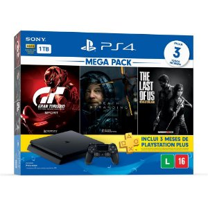 Playstation 4 Slim - 1Tb + Kit 3 Jogos C/ 3 Meses De Psn