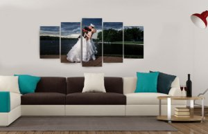 Quadro Personalizado com foto 5 peças 70x150 + BRINDE