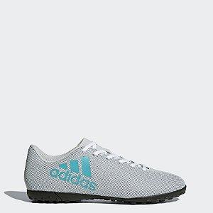 S82414-Chuteira X 17.4 Society Adidas- Branco/Azul