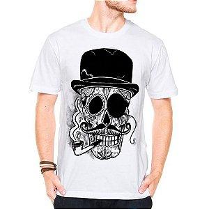Camiseta Manga Curta Caveira Cartola