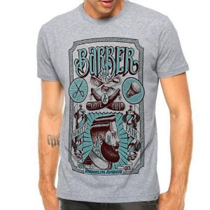 Camiseta Manga Curta Barber Shop Brooklyn