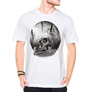 Camiseta Manga Curta Caveira Forest