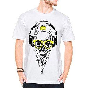 Camiseta Manga Curta Caveira Som