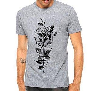 Camiseta Manga Curta Rosa Geometrica