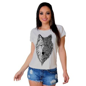 Camiseta T-shirt  Manga Curta Lobo Tattoo