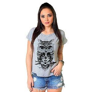 Camiseta T-shirt  Manga Curta Coruja Catrina