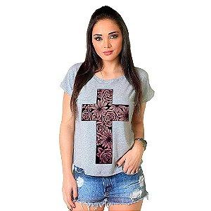 Camiseta T-shirt  Manga Curta Cruz Floral