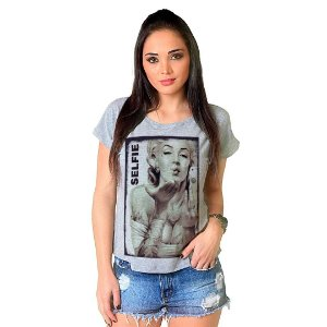 Camiseta T-shirt  Manga Curta Marylin Selfie