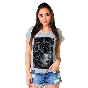Camiseta T-shirt  Manga Curta Catrina Skull