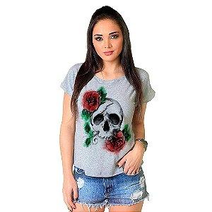 Camiseta T-shirt  Manga Curta Caveira Rosa
