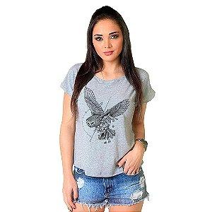Camiseta T-shirt  Manga Curta Coruja Geometrica