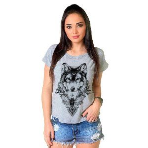 Camiseta T-shirt  Manga Curta Lobo Leader