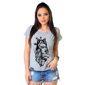 Camiseta T-shirt  Manga Curta Wolf Girl