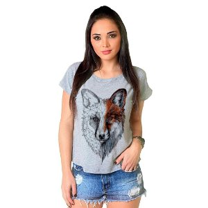 Camiseta T-shirt  Manga Curta Raposa Stone