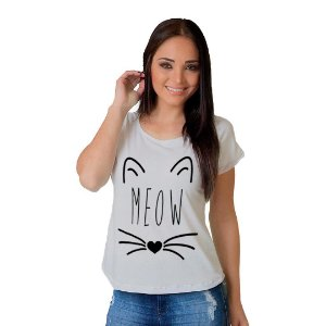 Camiseta T-shirt  Manga Curta Meow