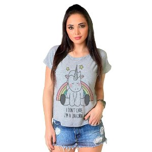 Camiseta T-shirt  Manga Curta Unicornio Cute