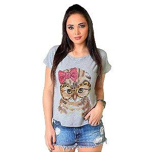 Camiseta T-shirt  Manga Curta Gato Fashion