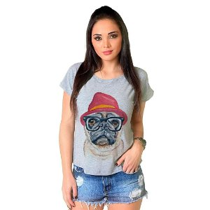 Camiseta T-shirt  Manga Curta Dog Pug Fashion