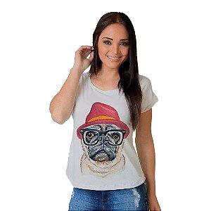 Camiseta T-shirt  Manga Curta Dog Pug Fashion