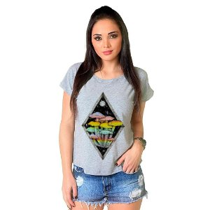 Camiseta T-shirt  Manga Curta Cogumelos