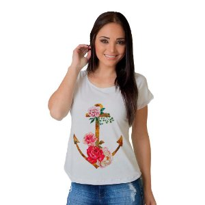 Camiseta T-shirt  Manga Curta Ancora Floral