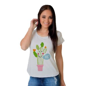 Camiseta T-shirt  Manga Curta Hi Cactus