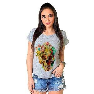Camiseta T-shirt  Manga Curta Flower Skull
