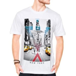 Camiseta Manga Curta New York Cinza