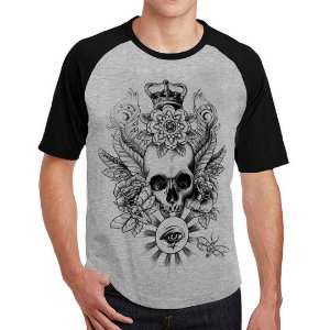 Camiseta Raglan Skull Crown Eye
