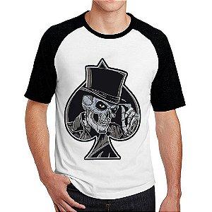 Camiseta Raglan Caveira Coringa Espada