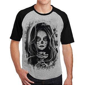 Camiseta Raglan Caveira Mexicana