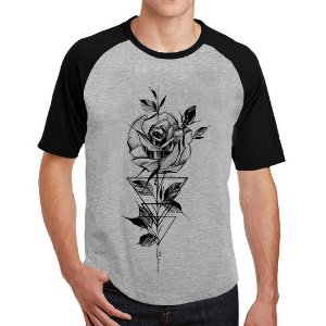 Camiseta Raglan Rosa Geometrica