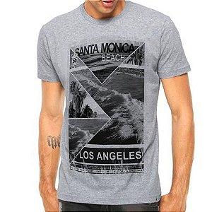 Camiseta Manga Curta Santa Monica Beach LA