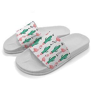 Chinelo Slide Cactos e Flamingos