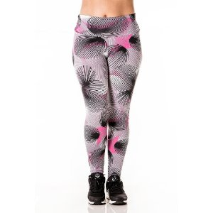Legging Cinza e Rosa Alta Performance